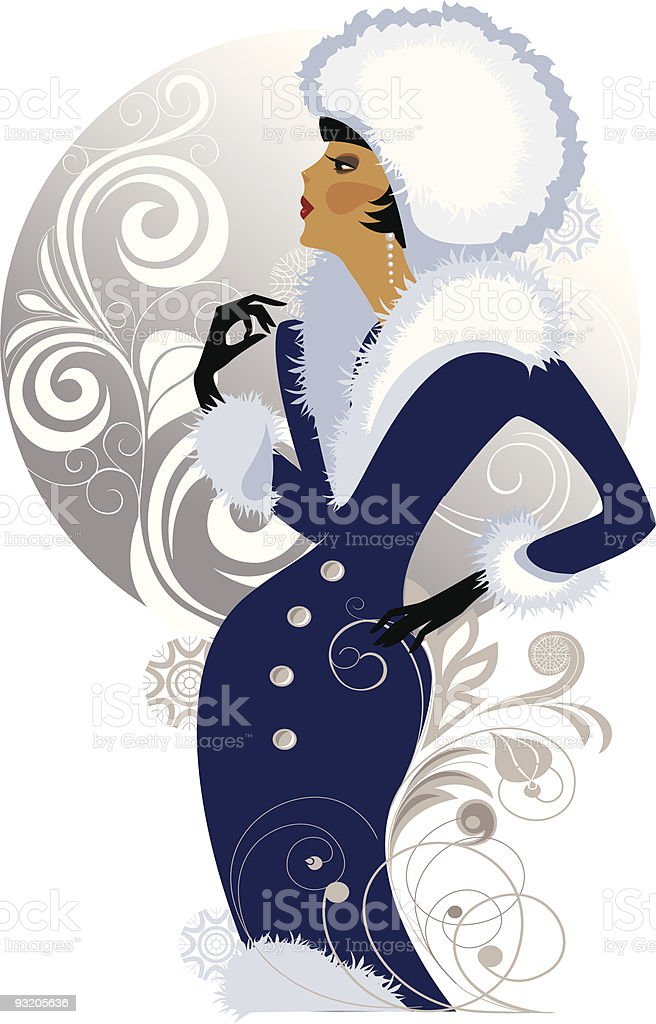 winter lady royalty-free stock vector art