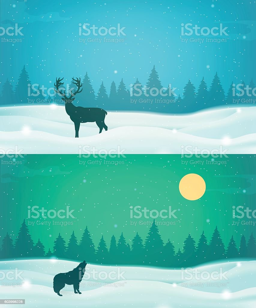 Winter landscape background set with winter tree and wild animals. royalty-free stock vector art