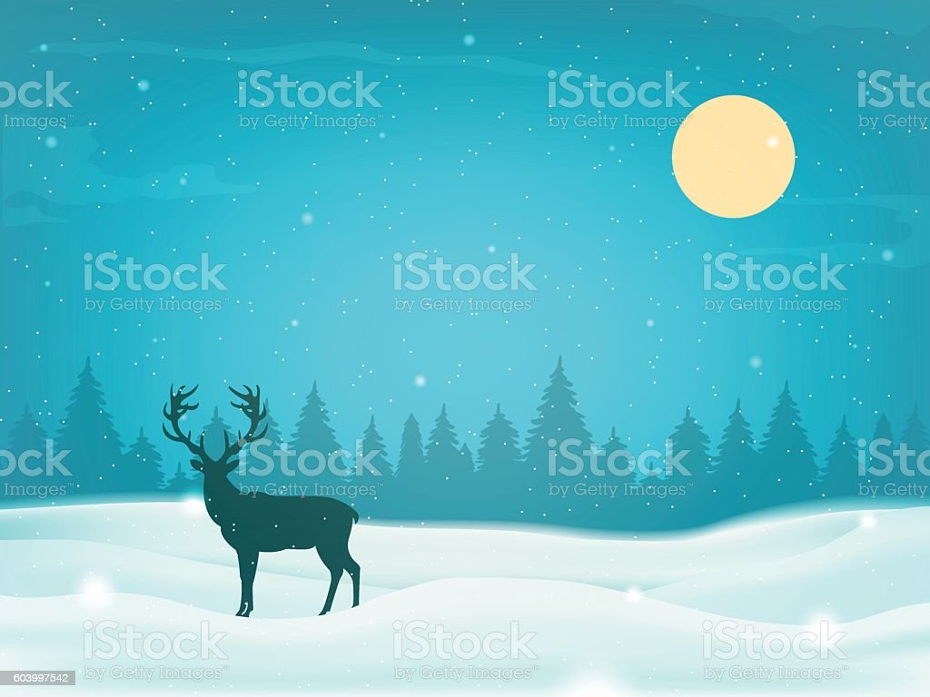 Winter landscape background with winter tree and reindeer silhouette. Vector vector art illustration
