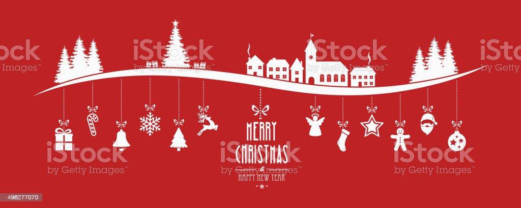 winter landscape christmas ornament hanging red background vector art illustration