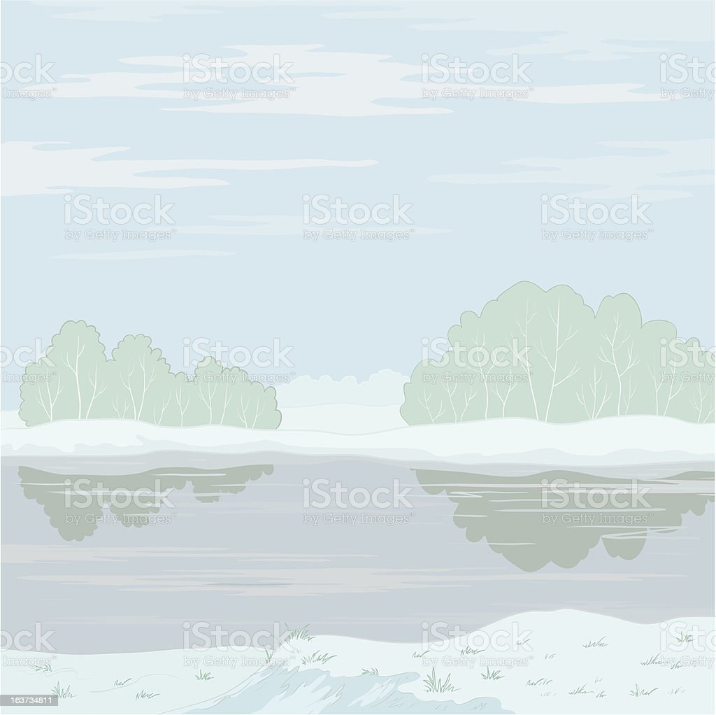 Winter landscape. Forest river royalty-free stock vector art