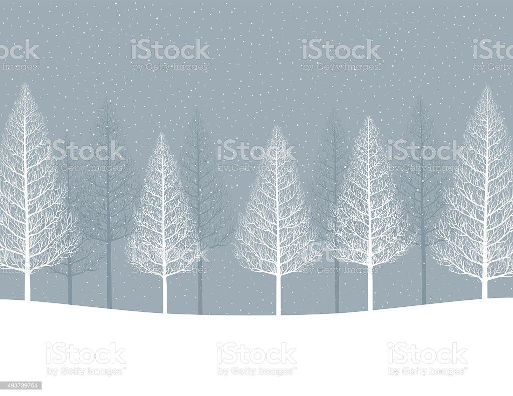 Winter landscape, forest vector art illustration