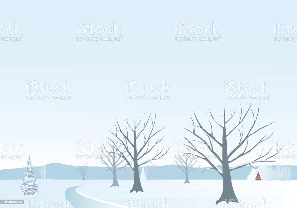 Winter landscape - Illustration vector art illustration