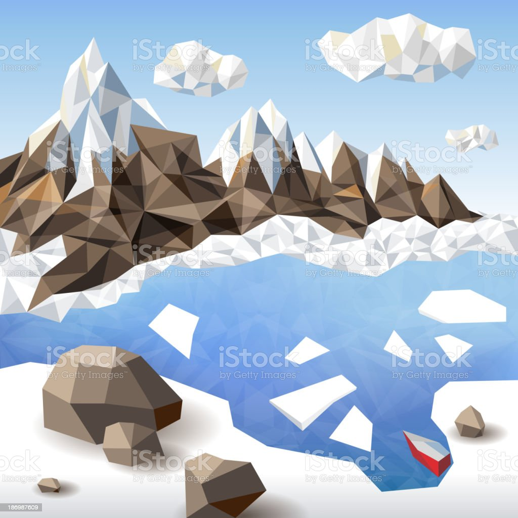 Winter landscape in origami style royalty-free stock vector art