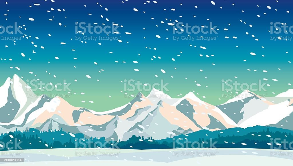 Winter landscape - mountain and snowfall. vector art illustration
