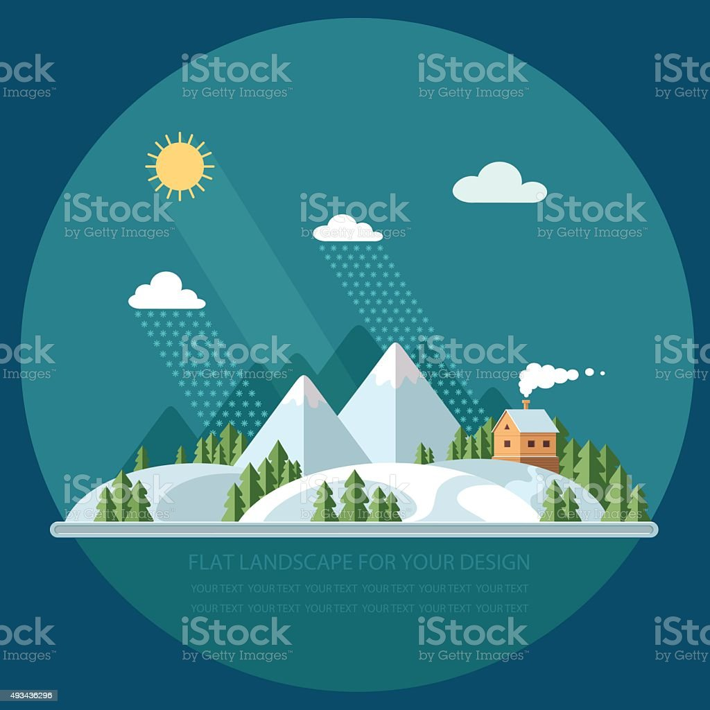 Winter landscape mountains snow-capped hills. flat vector illustration vector art illustration