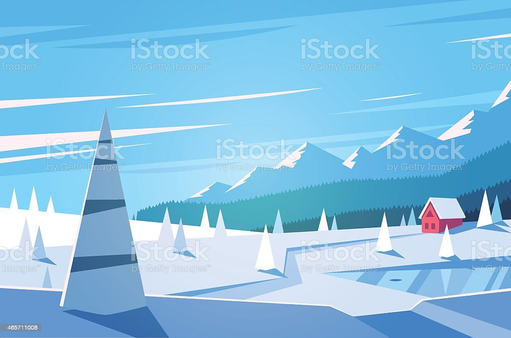Winter landscape of a mountain town vector art illustration