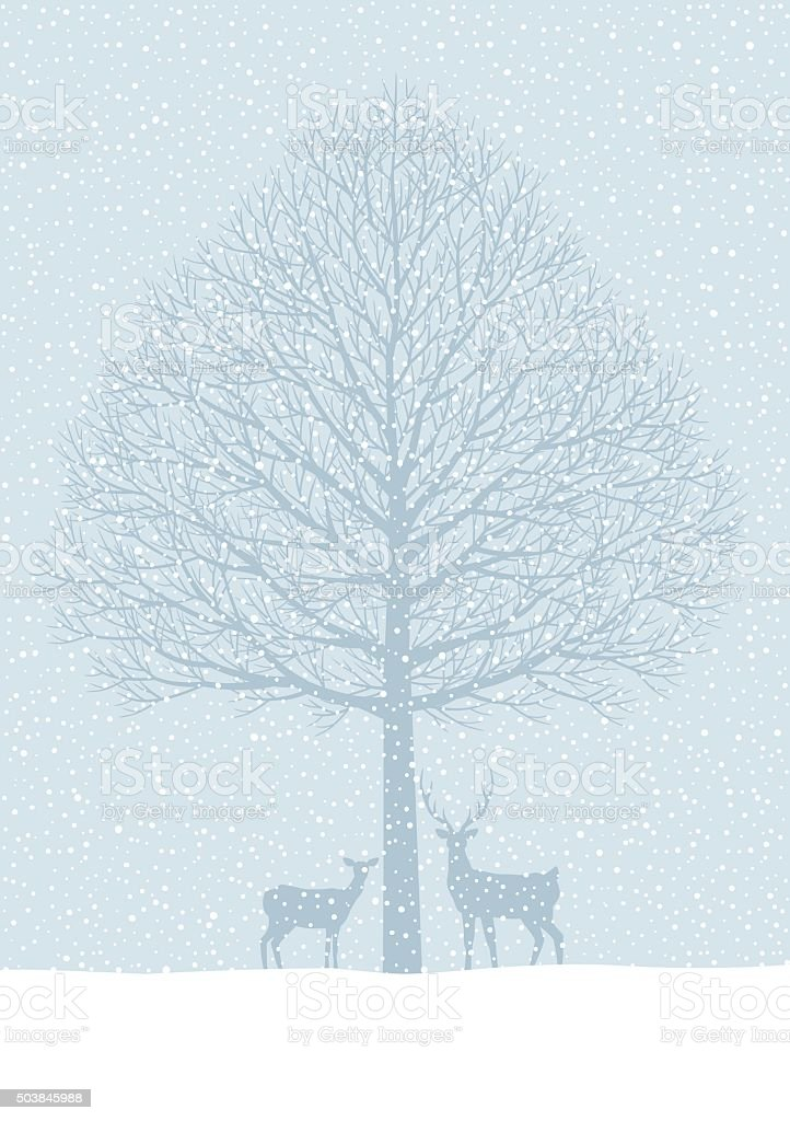 Winter landscape. Snow, trees, deer vector art illustration