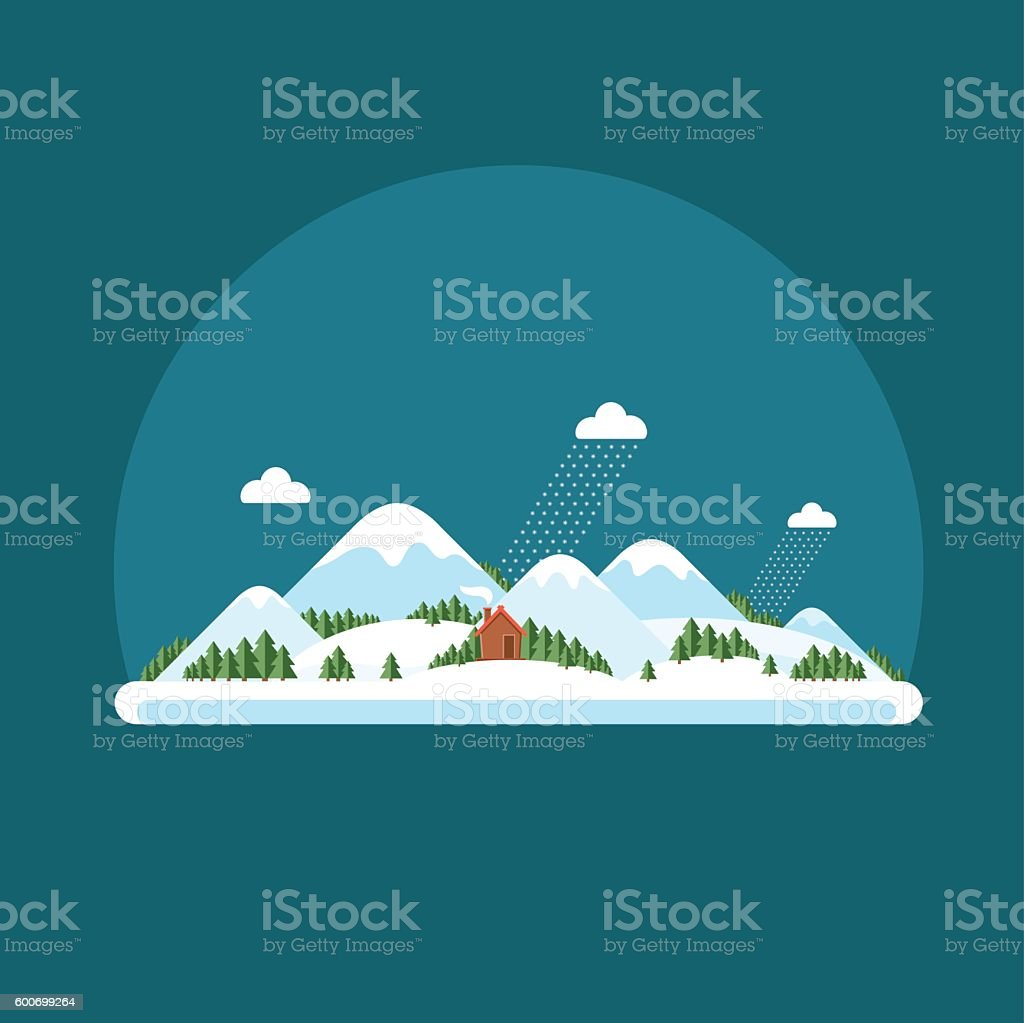 Winter landscape snow-capped hills. Mountains vector art illustration