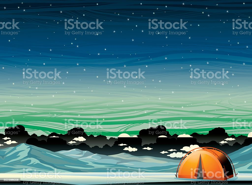 Winter landscape - travel tent and mountains at night sky. vector art illustration