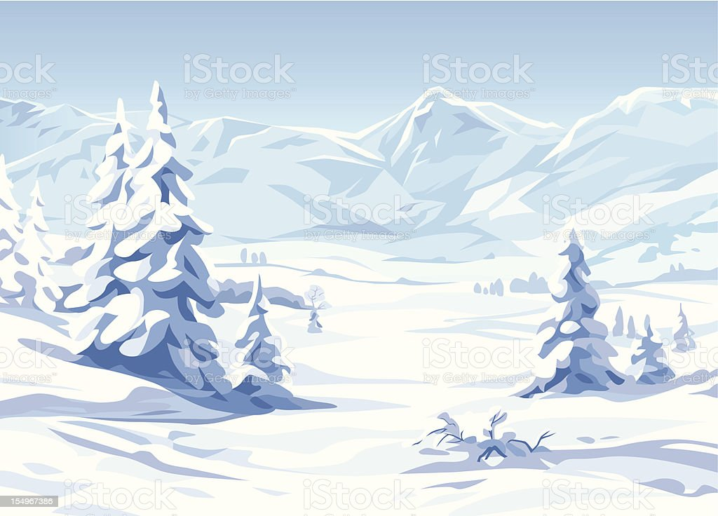 Winter Landscape vector art illustration