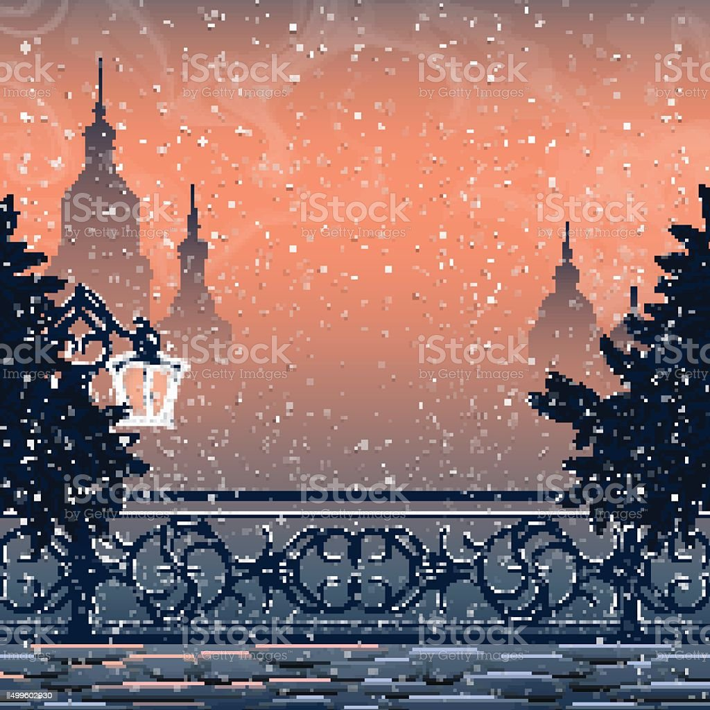 Winter landscape with cityscape vector art illustration