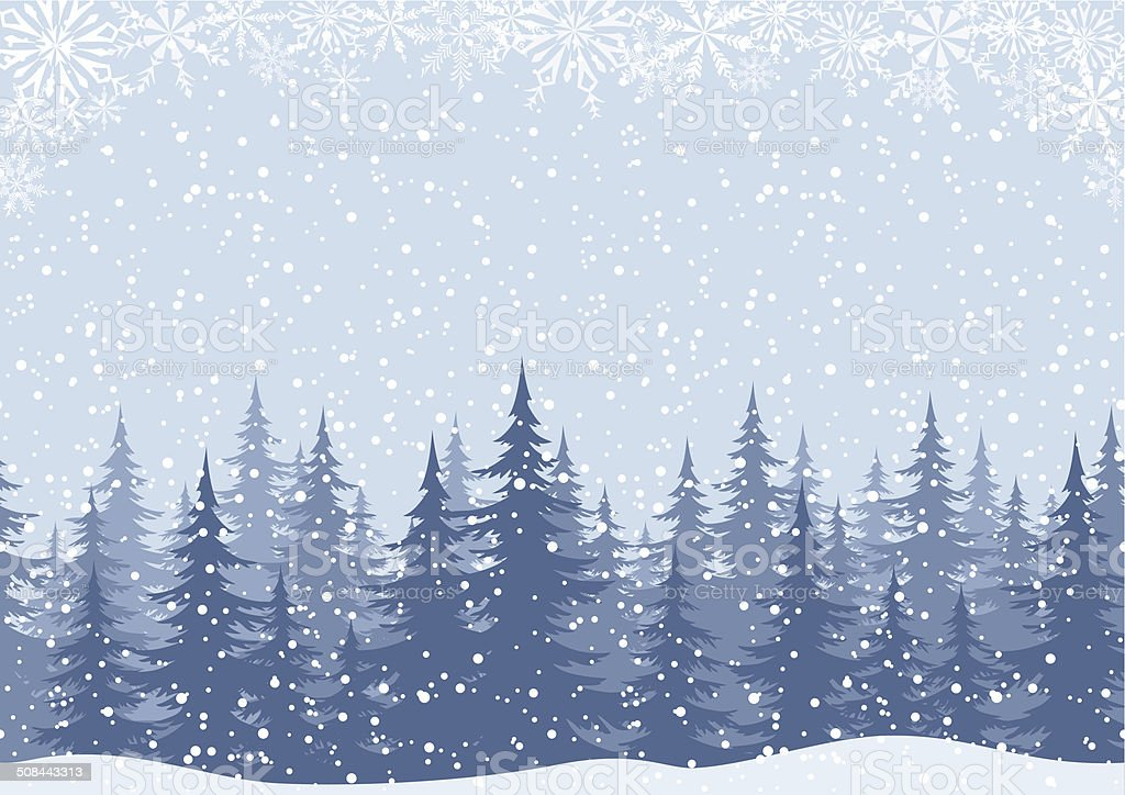 Winter landscape with fir trees and snow vector art illustration
