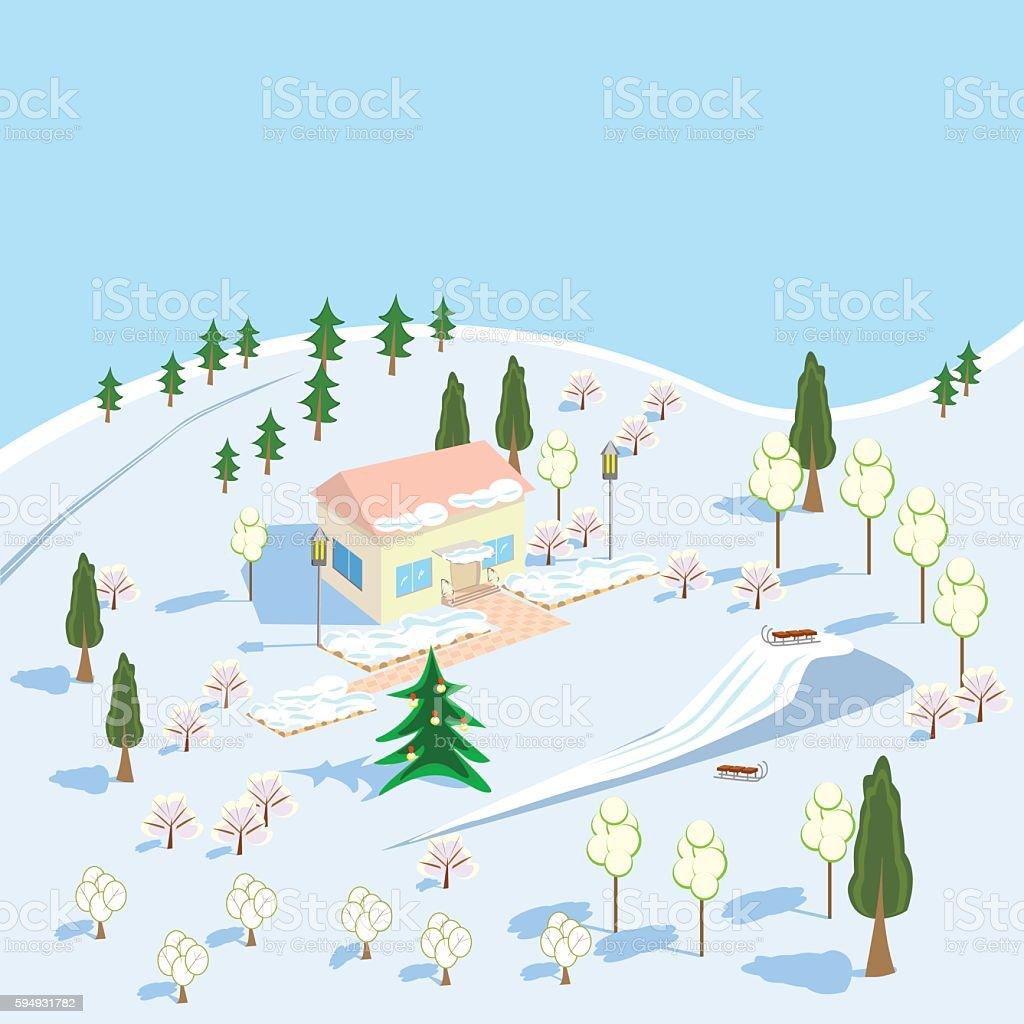 Winter landscape with house and a slide for skiing royalty-free stock vector art