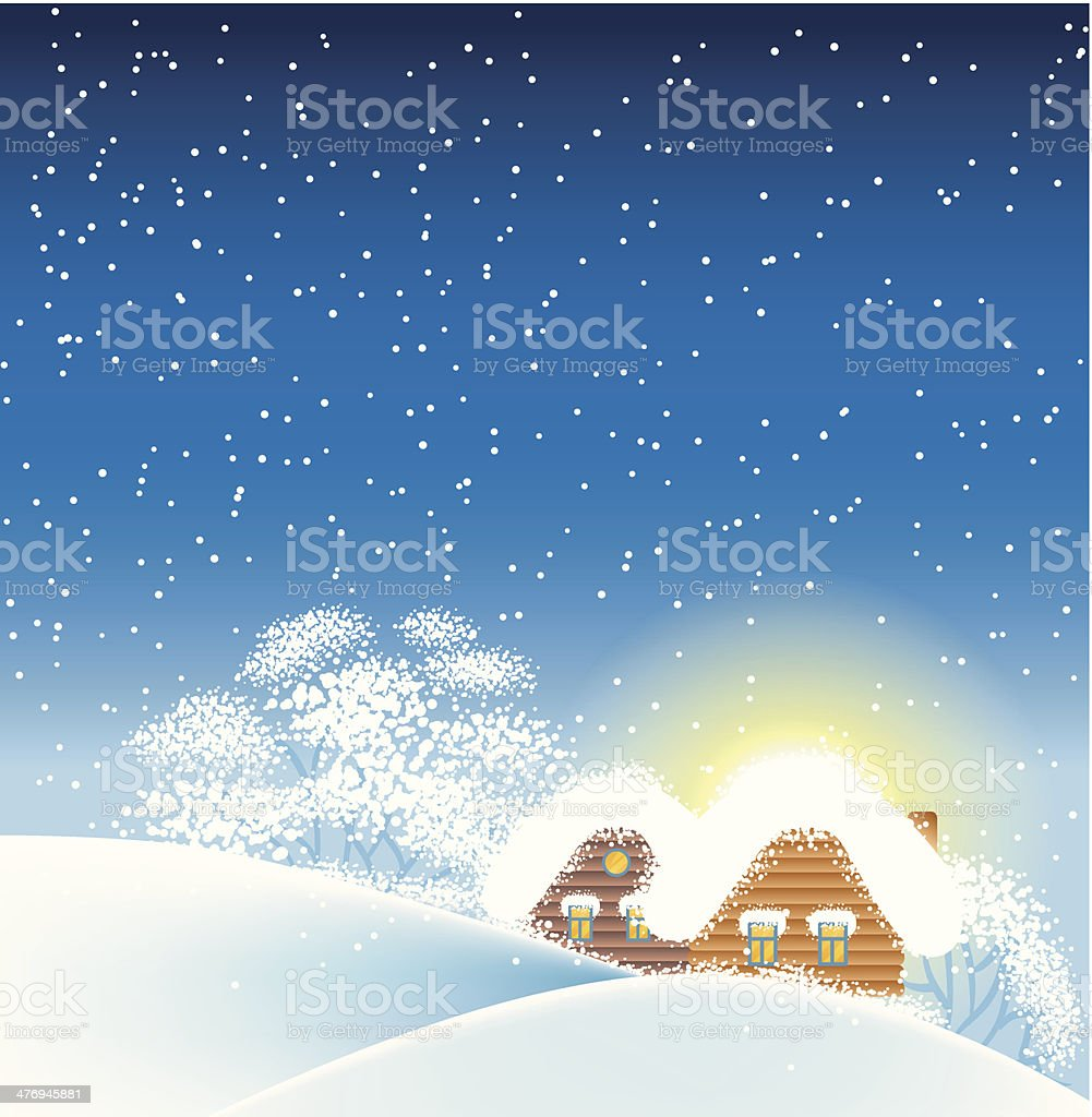 Winter landscape with houses royalty-free stock vector art