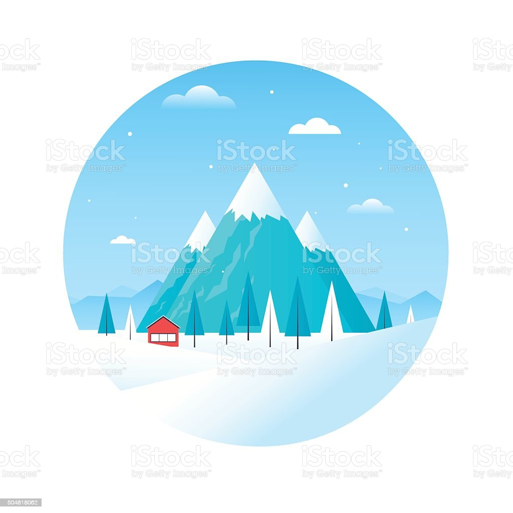 Winter landscape with mountains and a house vector art illustration