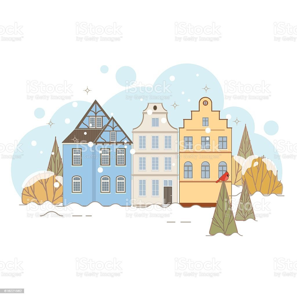Winter Landscape With Old Houses vector art illustration
