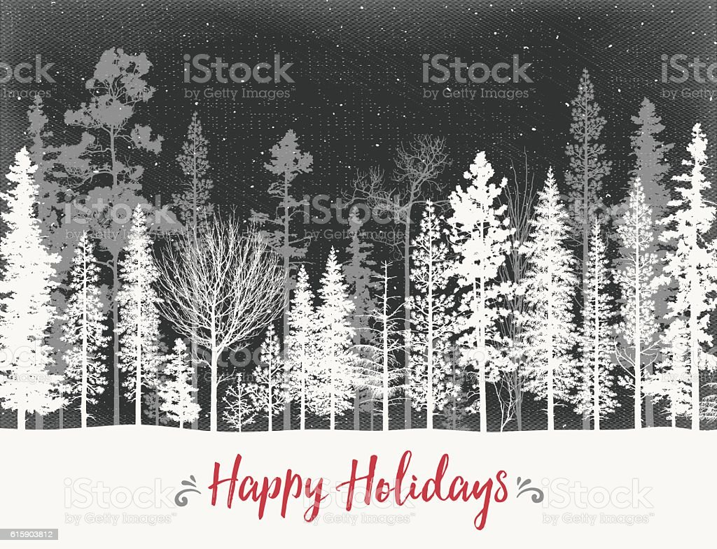 Winter Landscape with Snow Covered Trees vector art illustration
