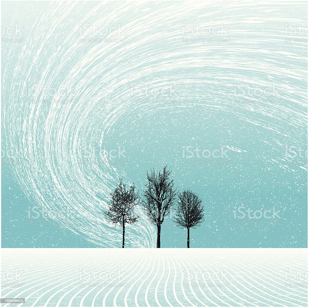 winter landscape with trees and blizzard vector art illustration