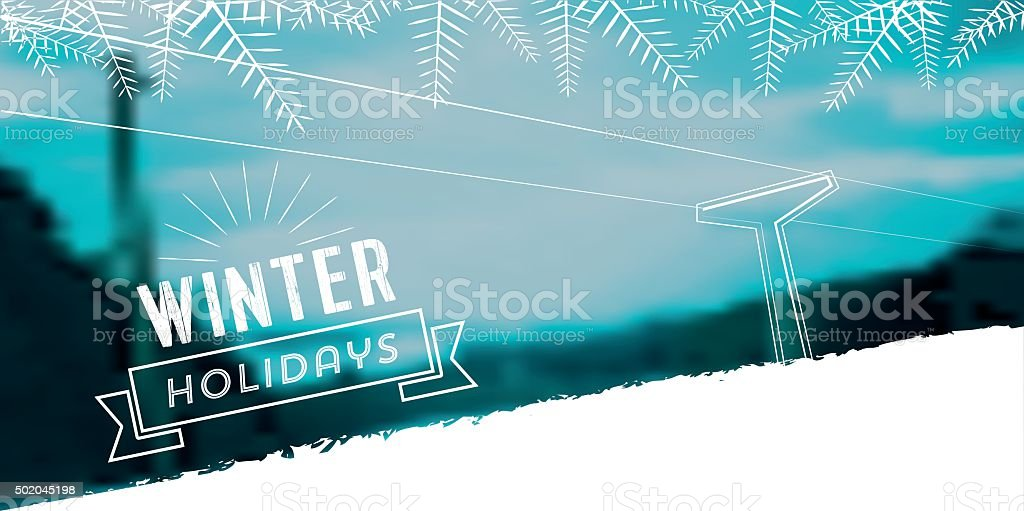 winter line illustration on snowy blurred landscape banner vector art illustration