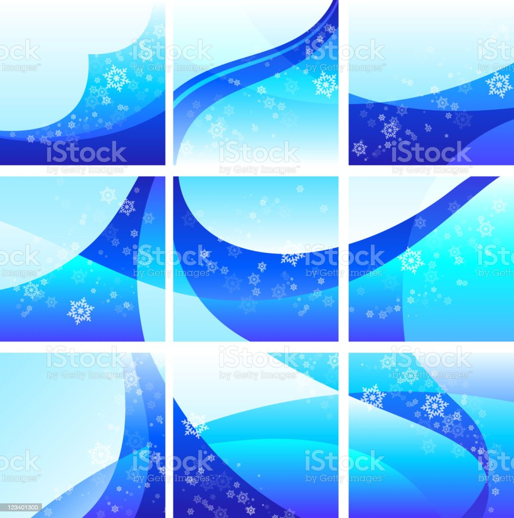 Winter magical Background set with snowflakes royalty-free stock vector art
