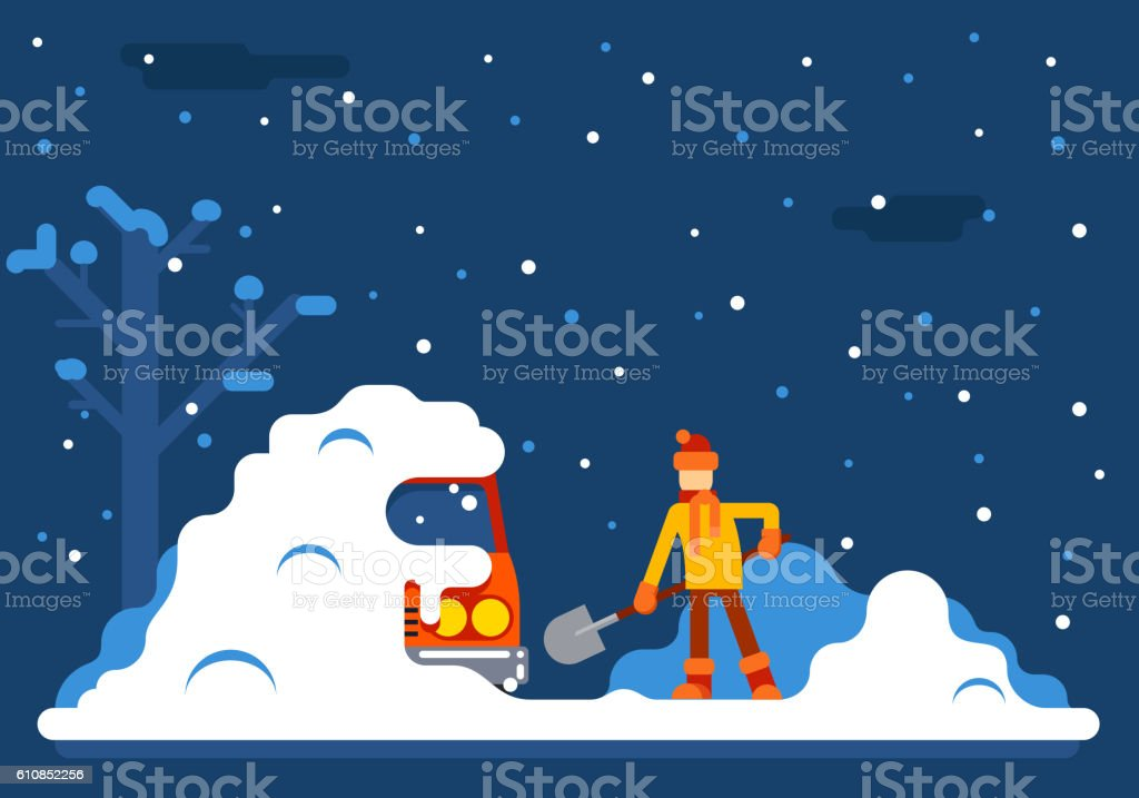 Winter Man Digs Car Out of Snow Background Flat Design vector art illustration