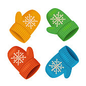 Winter Mittens Colorful Set. Vector