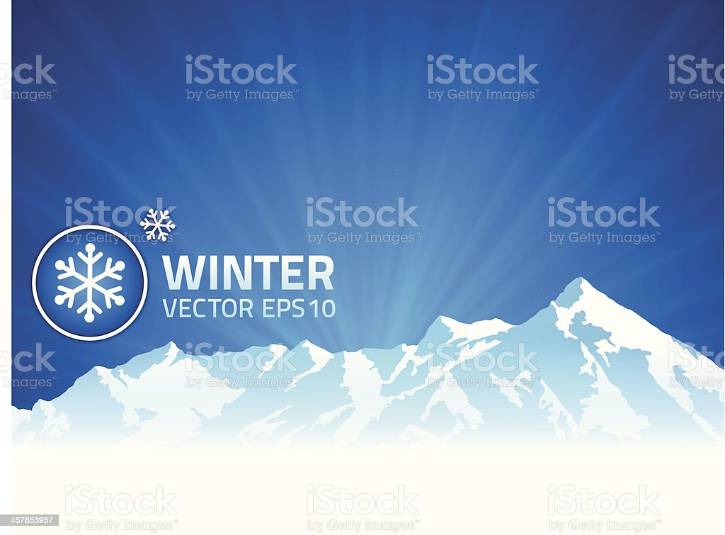 Winter Mountain Background vector art illustration