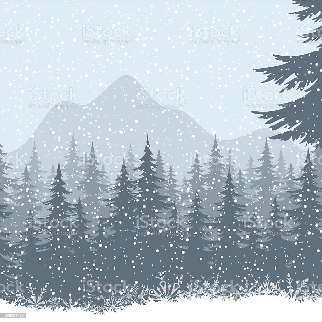 Winter mountain landscape with fir trees vector art illustration