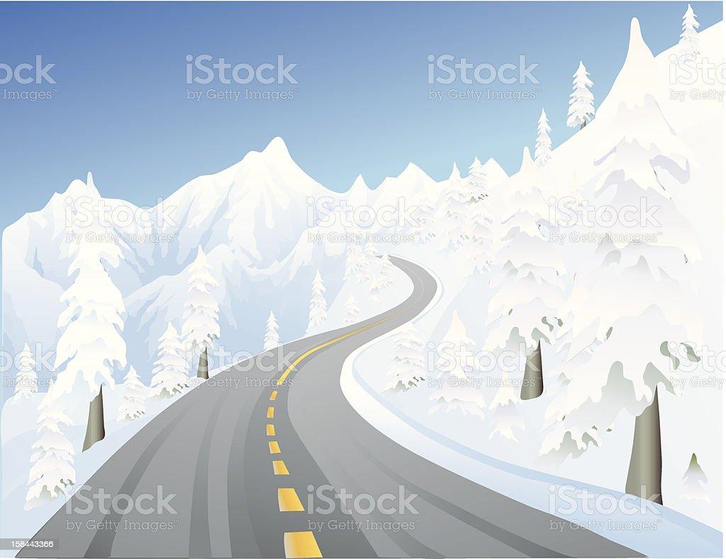 winter mountain road royalty-free stock vector art