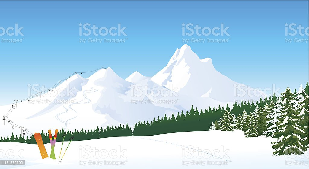 Winter mountain ski landscape vector art illustration