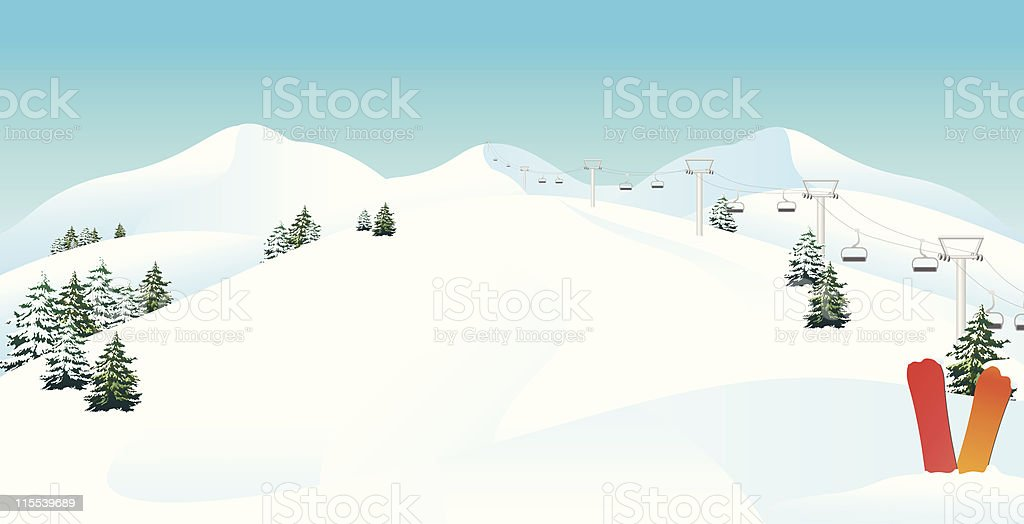 Winter mountain ski scene vector art illustration