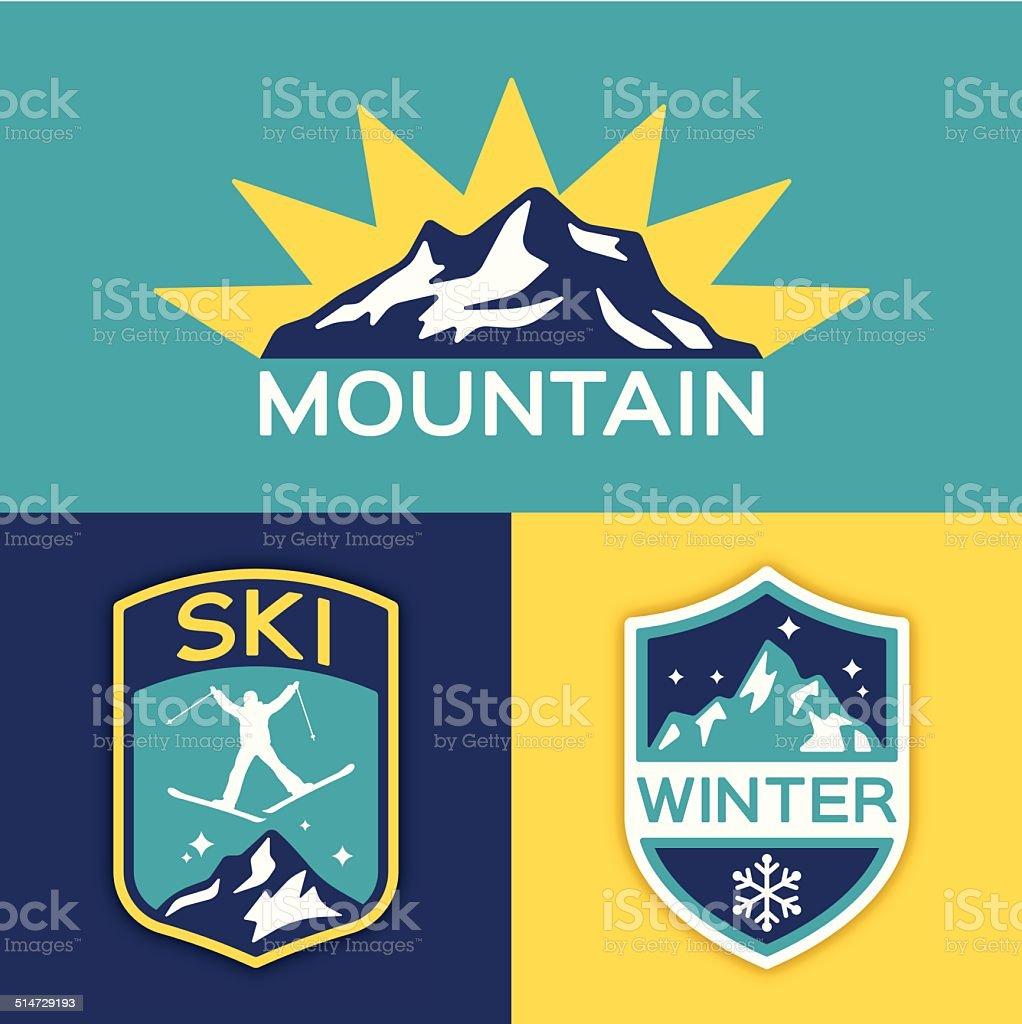 Winter Mountain Ski vector art illustration