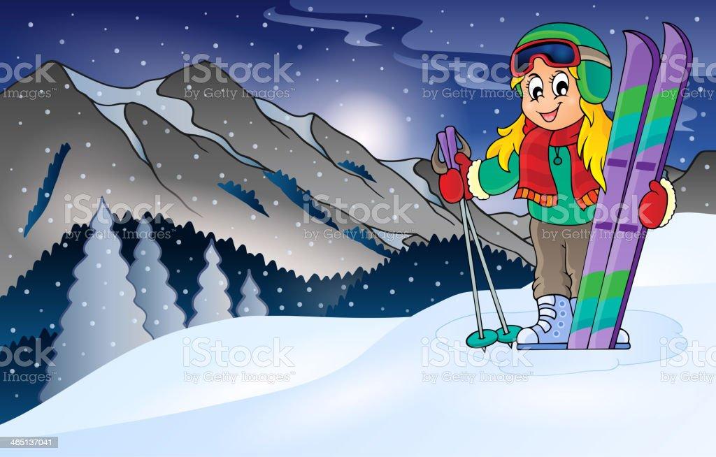 Winter mountain sport theme 1 royalty-free stock vector art