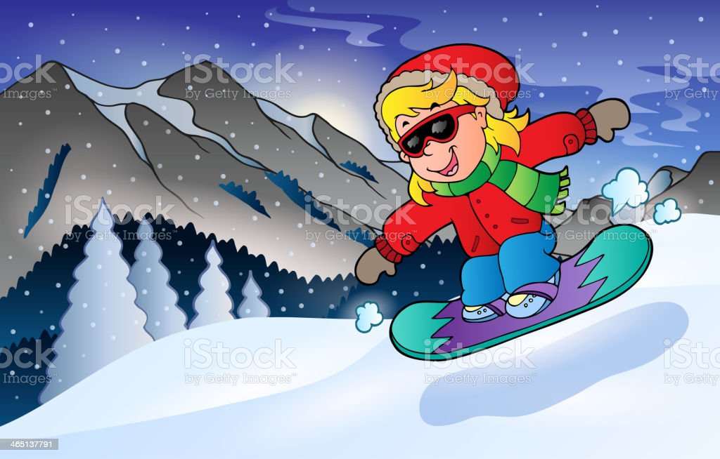 Winter mountain sport theme 2 royalty-free stock vector art