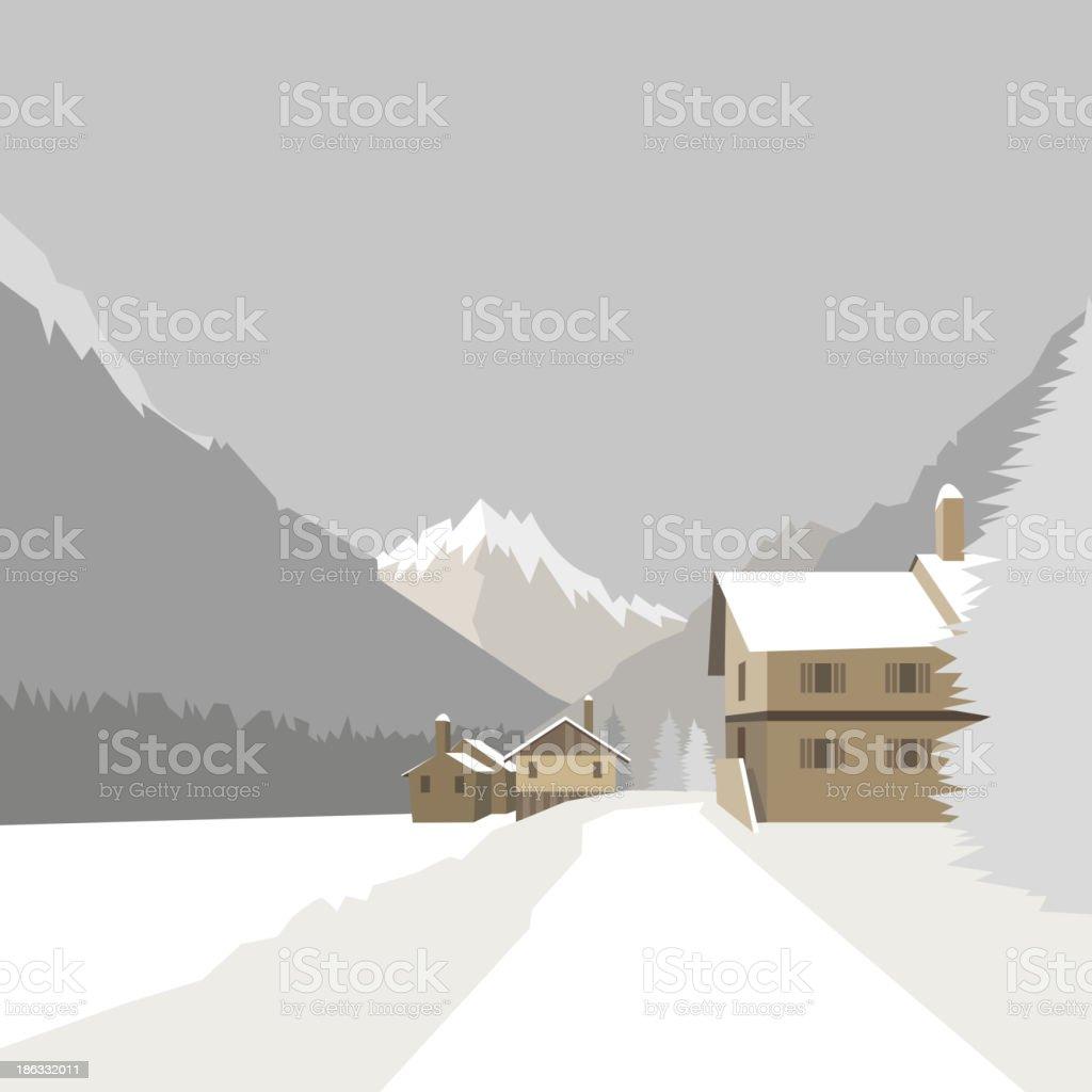 Winter mountain village background, vector illustration vector art illustration