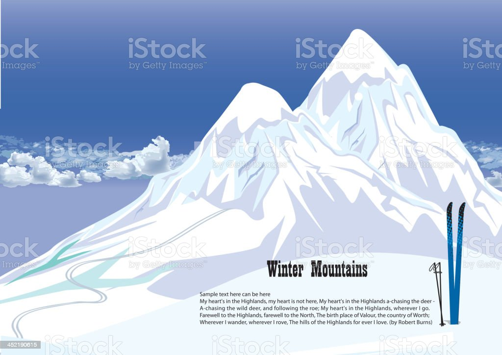 Winter mountains on sky background. Snowy landscape. royalty-free stock vector art