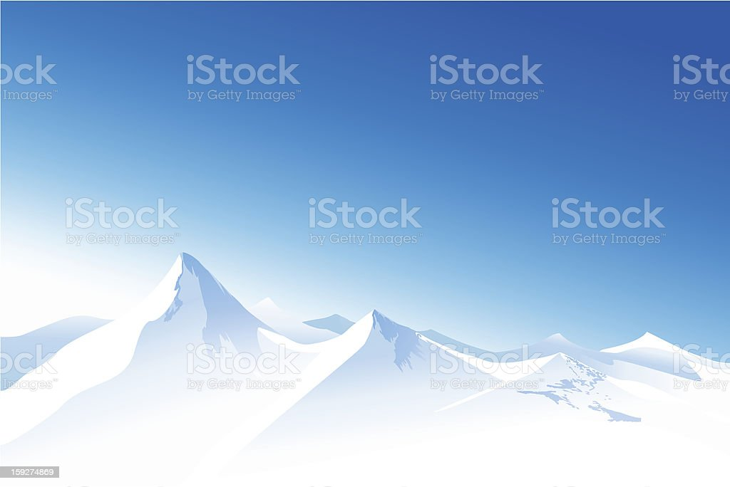 Winter mountains vector art illustration