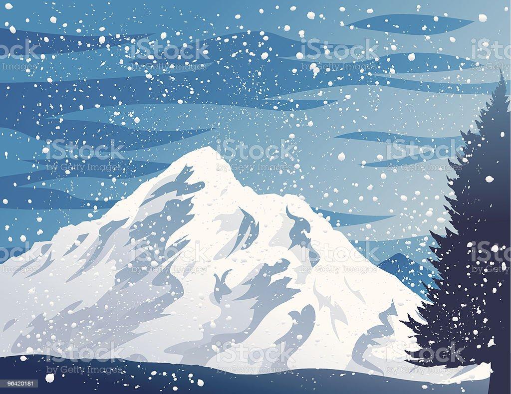Winter Mountains vector art illustration
