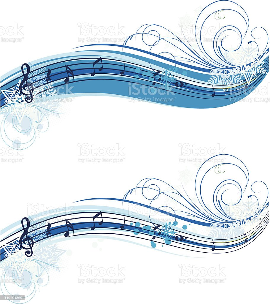 winter musical horizontal banner royalty-free stock vector art
