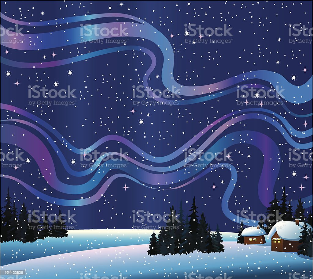 Winter nature with northern lights and houses royalty-free stock vector art
