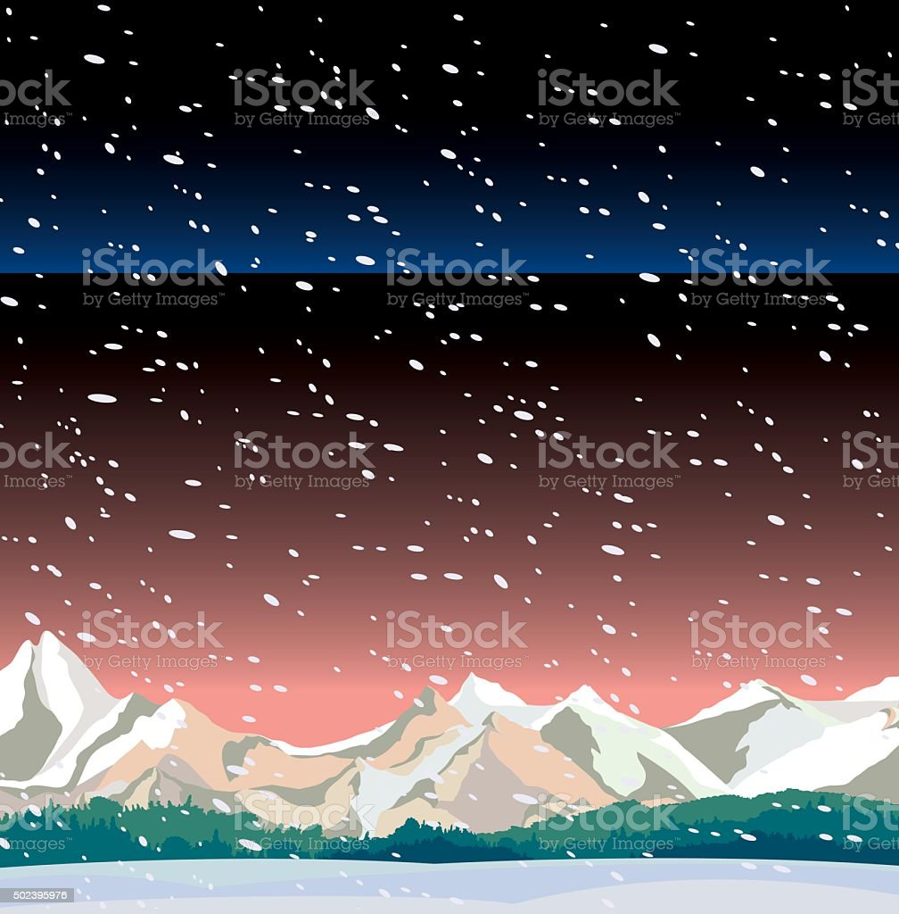 Winter night landscape and snowfall. vector art illustration