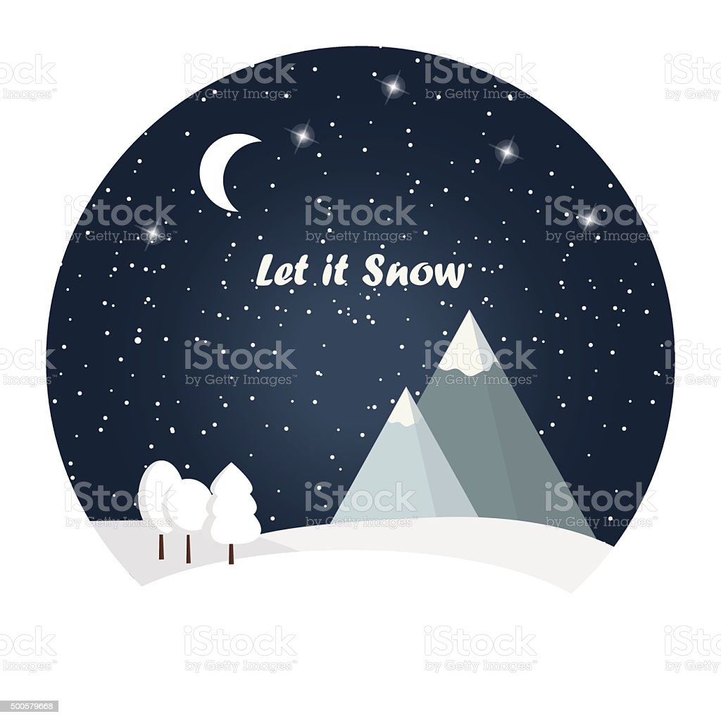 Winter night landscape vector art illustration