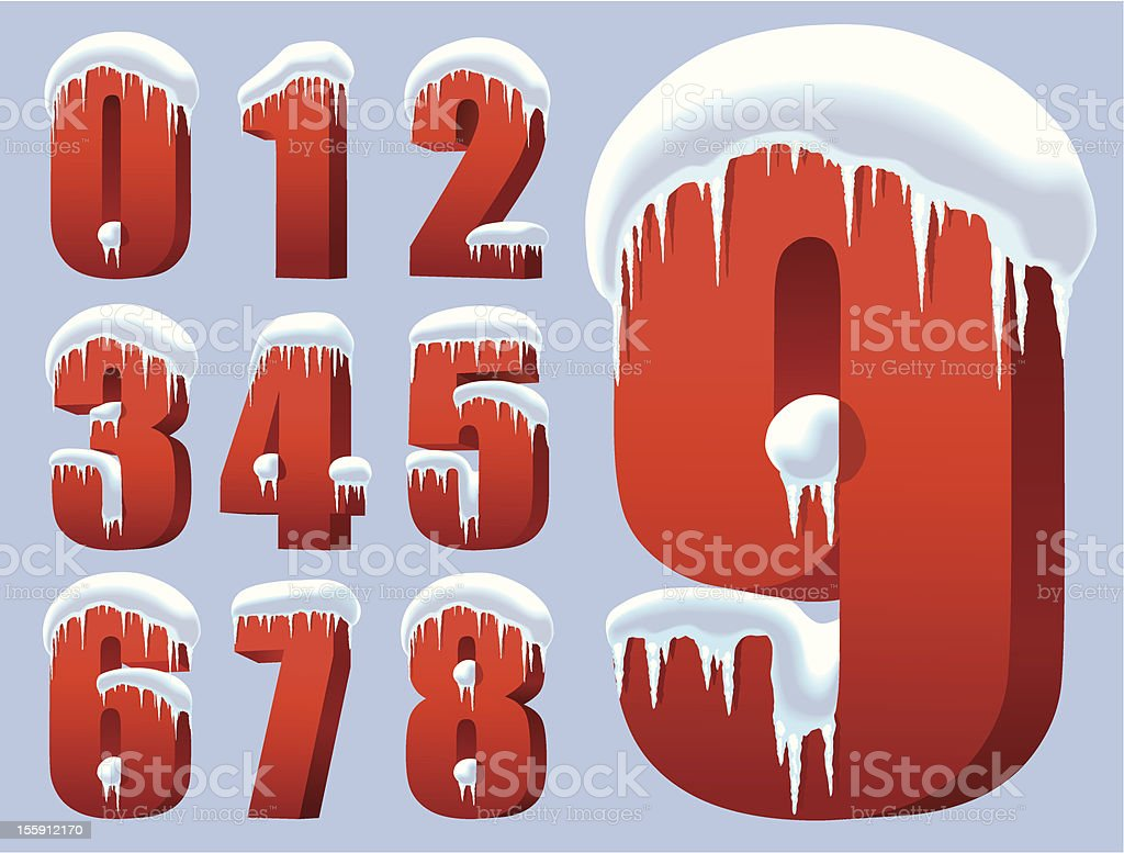 Winter numbers royalty-free stock vector art