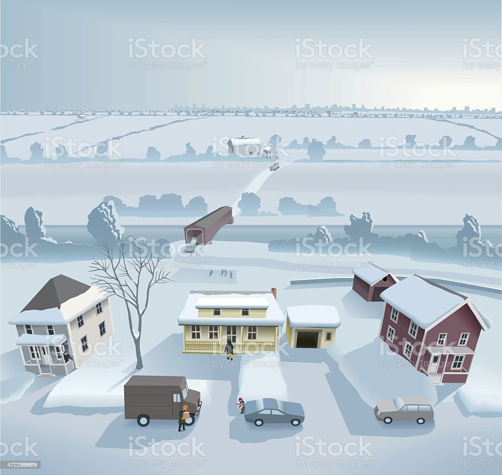 Winter on the countryside vector art illustration