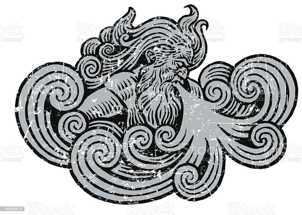 Winter or Wind Storm Grunge Graphic vector art illustration