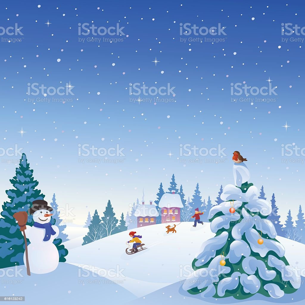 Winter outdoors vector art illustration