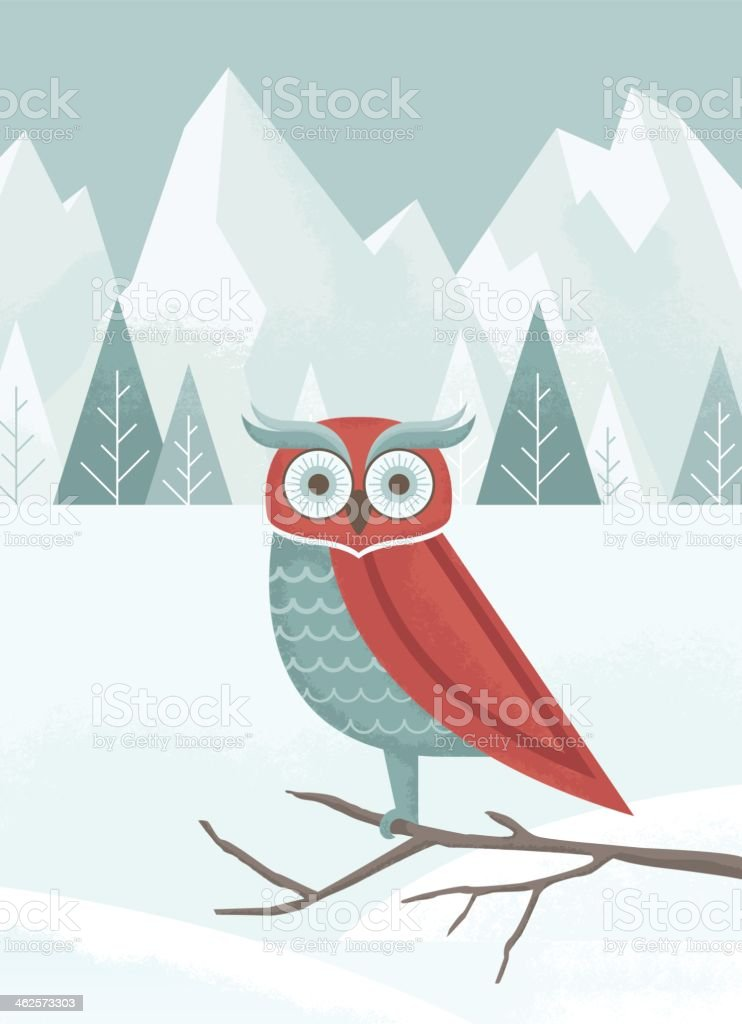 Winter Owl vector art illustration