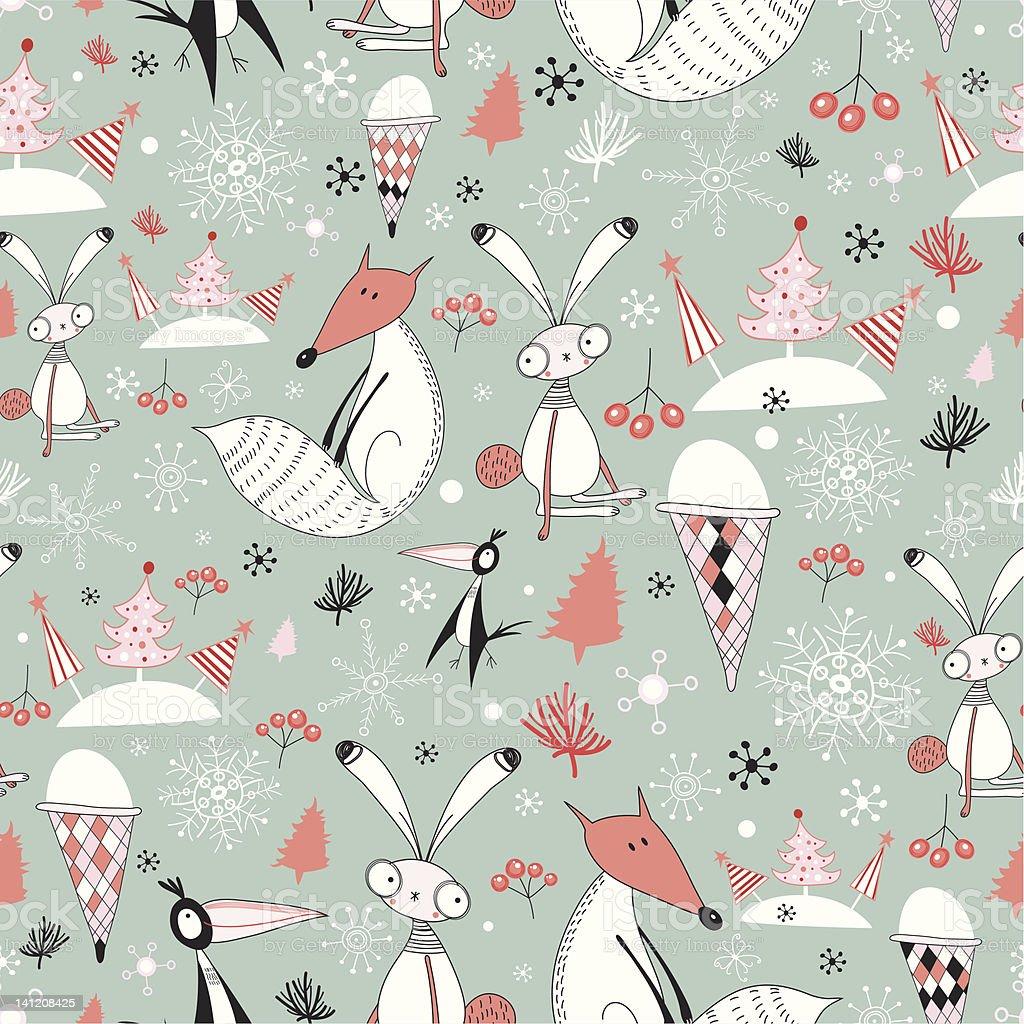 winter pattern of foxes and hares royalty-free stock vector art