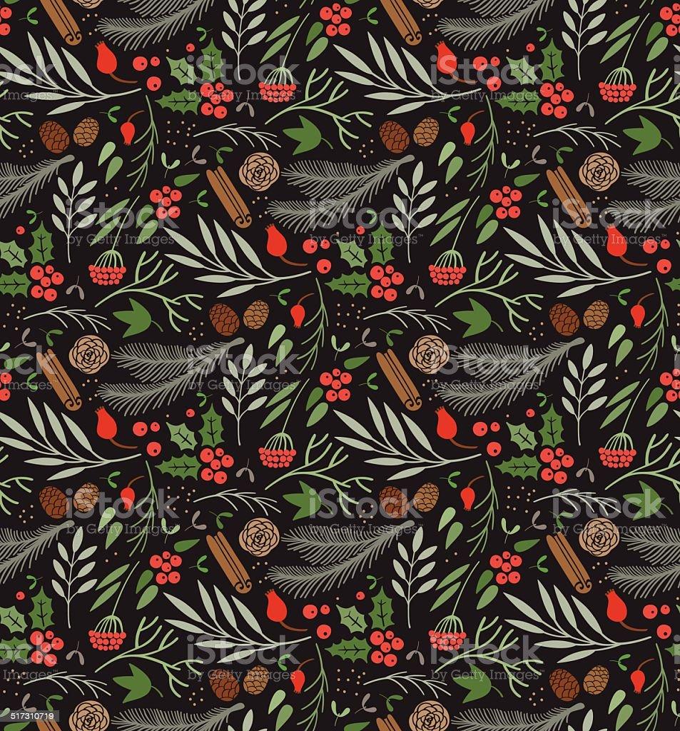 Winter pattern vector art illustration
